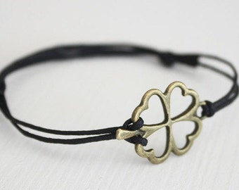Four Leaf Clover Bracelet or Anklet, Shamrock Bracelet, Antique Brass Bracelet, Bronze Bracelet, Irish Jewelry, Good Luck, Lucky Bracelet