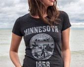Minnesota State Seal T-Shirt. Distressed Vintage Style Soft State of Minnesota Women's Tee