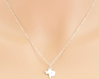 Diamond Texas Necklace, Sterling Silver, Texas Pendant, Diamond Texas Charm, Texas Jewelry, For Her, State Jewelry, For Her, BeadXS, Gift
