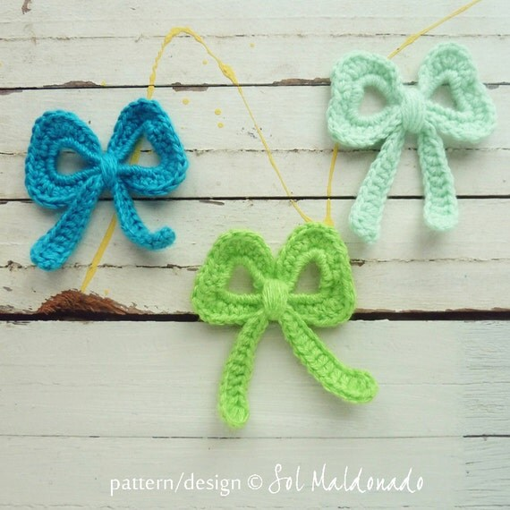 Crochet Applique Pattern Bow tutorial PDF ebook how to DIY / trendy crochet pattern to applique in accessories - Instant Download