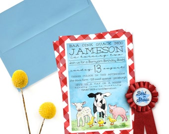 Farm Invitation Farm Birthday Invitation Farm Party Invitation Printable Invitation Barnyard Birthday Farm Animals Barnyard Invitation