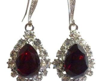 Red Bridal Earrings, Teardrop Wedding Earrings, Swarovski Crystal Earrings, Dangle Earrings, Bridesmaid Earrings, Pear Drop Earrings, BIJOUX