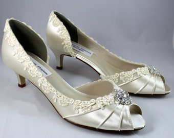 """Ivory lace heels 1.75""""-Corrisa - Wide shoes available - low heel"""