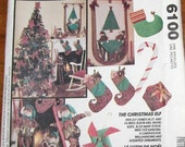 "McCall's 6100 394 772 Christmas Elf 21"" 14"" Dolls, Stocking, Ornaments, Holiday Wallhanging Vintage Craft Sewing Pattern Uncut Factory Folds"