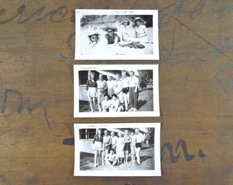 Vintage 1940s Beach Vacation Photos, Black and White Photographs