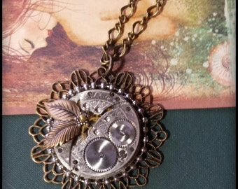 Steampunk Womens Necklace Vintage Etched Pocket Watch Piece