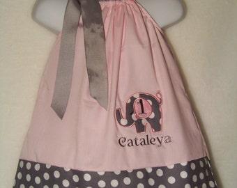 Elephant Birthday Pillowcase Dress / Pink & Gray Dots / Personalized / Cake Smash / Newborn / Infant / Baby / Toddler / Girl / Boutique