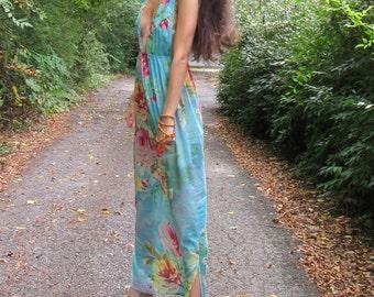 watercolor - light blue cotton floral print bohemian ethnic festival hippie bridesmaid wedding boho chic maxi dress xs/s