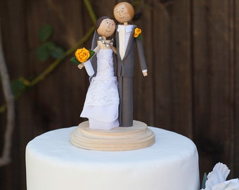 Cake Topper- Handmade Keepsake Wedding Topper- custom made wood bride and groom