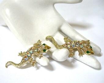 Lizard Rhinestone Scatter Pins, two Gecko Pins, aurora borealis rhinestones, AB, brooch set, gift idea, Excellent