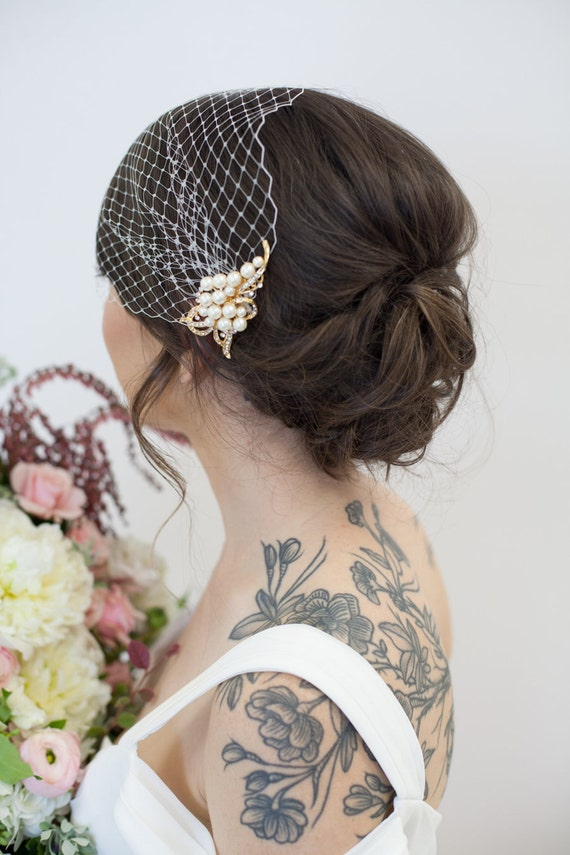 Gold Birdcage Veil, Bridal Veil and Pearl Bridal Comb, Bandeau Birdcage Veil, Blusher Cage Veil - Detachable Pearl and Rhinestone Hair Comb