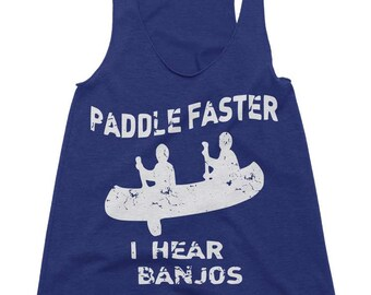Womens Paddle Faster I Hear Banjos Tri-Blend Racerback Tank Funny Workout Tanktop Camping Kayaking Tanks - Running Gym Fitness Gifts For Her