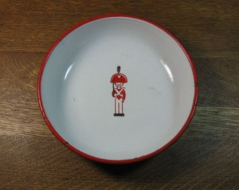 Vintage Children's Enamelware Bowl with Soldier in Center Child's Dish Kitchen Decor