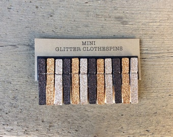 Mini Glitter Clothespins in Browntones. Mini Clothespins. Glitter Clothespins. Party Decor. Fall Decor. Bag Topper.