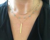 Turquoise Gold Layered Necklace Set, Turquoise Gold Necklace, Dainty Gold Necklace, Triple Strand Necklace, Beaded Gemstone Chain Necklace