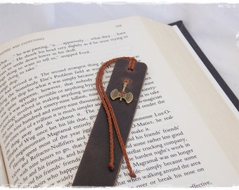 Battle Axe Bookmark, Leather Bookmark, Labrys Leather Bookmark, Double-Headed Axe Bookmark, Minoan Axe Bookmark, Ancient Greek Book Marker