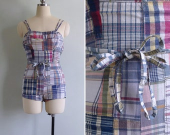 15% Code - MAR15OFF - Vintage 50's Madras Plaid Checkered Cotton Swimsuit XXS or Xs