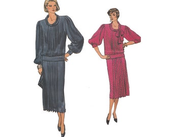 1980s Blouson Top and Straight Skirt Uncut Vogue Sewing Pattern 9133 Bow at Neck Drop Waist Front Pleats Flapper Style Size 12 Bust 34