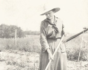 "Vintage Snapshot ""Organic Farming"" Vegetable Garden Woman Gardener Farming Found Original Photo"