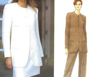 Calvin Klein Vogue Designer Jacket Skirt Pants Sz 6 8 10 Pattern 1995