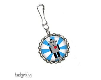 Robot bottlecap zipper pull, bag charm -Robot zip pull.
