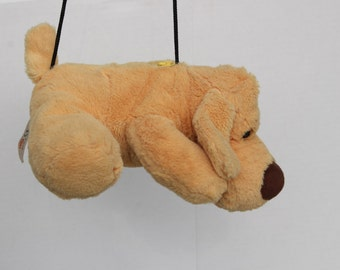 Doggy Bag - Vintage Plush Bag - Puppy Dog Toy Handbag - soft furry fluffy carrier purse - Kitsch Kawaii pastel- Labrador pup