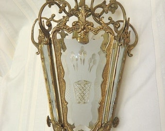 Vintage Chandelier Antique Brass Lantern Gorgeous Ornate Design Frosted Glass Panels a Beauty!