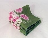 Reserved////Vintage Tammis Keefe Cocktail Napkins, Set of 5, Pink Green White, Vintage Linen Napkin *Free Shipping*