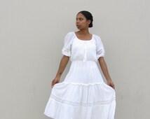70's white boho sundress/Vintage peasant empire waist/Hippie wedding dress