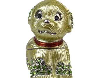 Vintage Puppy Dog Trinket Box // Enamel & Green Rhinestone Compact Case with Hinged Magnetic Closure // Gift for Animal Lover