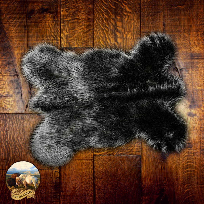 Plush Faux Fur Black Mountain Bear Skin Pelt Rug Realistic
