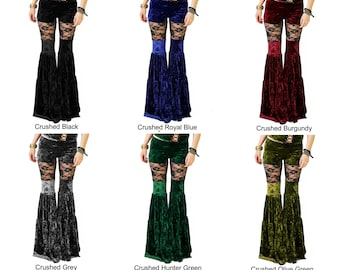 Velvet Peekaboo Flow Pants with Black Lace