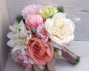 Coral & Blush Silk Wedding Bouquet with Peonies, Thistle and Dusty Miller
