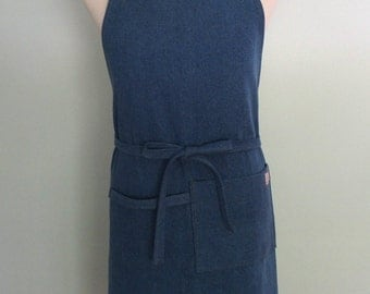 Medium Wash Denim Apron with Pocket and Towel Loop, Heavy Weight Work Apron, Denim Utility Apron, Heavy Duty Apron, Restaurant Apron