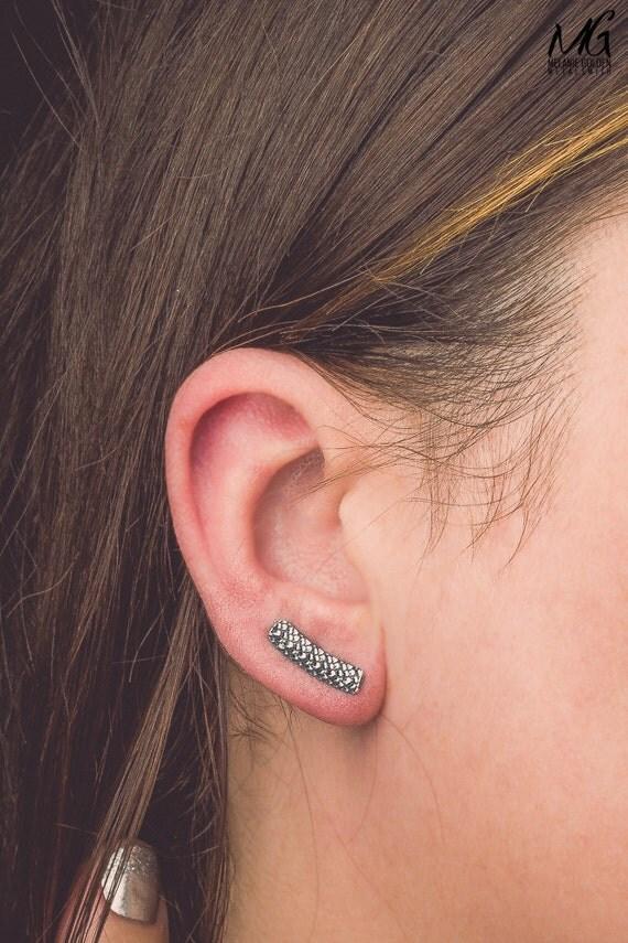 Snake Skin Ear Climbers - Dragon Scales Ear Climbers - Pair of Sterling Silver ear crawler earrings - Reptile, amphibian, lizard ear pins