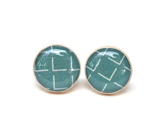 Teal Geometric Stud Earrings Wood Studs Gift for women wood Earrings blue Post Earrings. Wood Earrings. Starlight Woods