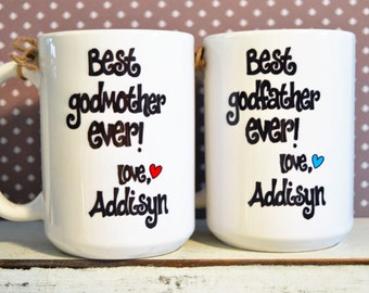 GODMOTHER or GODFATHER Mugs, Godparent BAPTISM or Birthday Gift