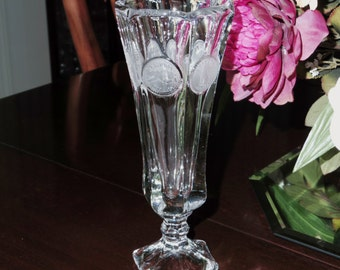 "FOSTORIA VASE COIN Footed Scalloped Glass Clear Crystal 8 1/4"" High 1958 - 1981 Bud Flower Crystal Pattern 1372 Excellent Condition"