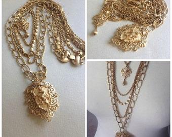 SALE-Vintage 70's Monet Unicorn Pendant Necklace, 5 link chains, gold tone, shield of honor, unicorn jewelry, layaway, egst, Greece
