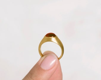 Unique Garnet Ring | 18k Yellow Gold Ring, Womens Unique Solitaire Ring, Large Massive Ring, Woman's Statement Ring Bombay Ring 18K 14k Gold