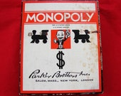 Vintage 1930s Monopoly Game, Wood Hotels Houses Dice, Cards, Monopoly Money, Monopoly Game Pieces with box Parker Brothers Game