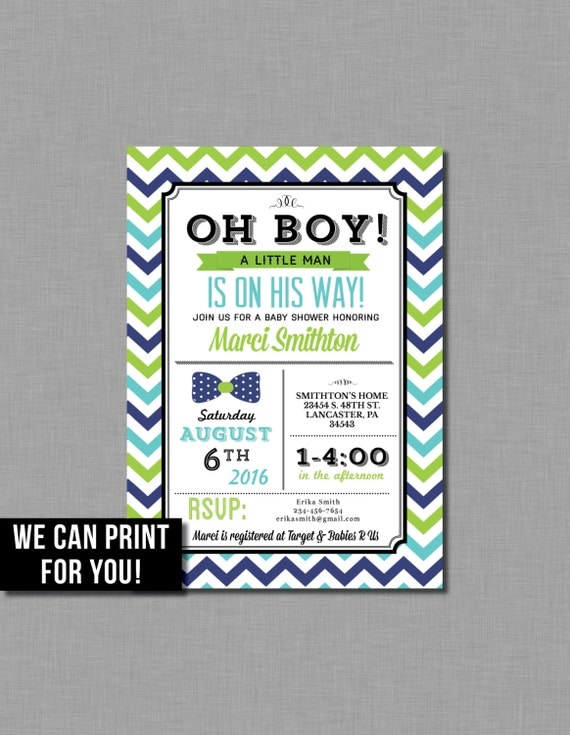 bow tie baby shower invitations lime green navy turquoise blue boy