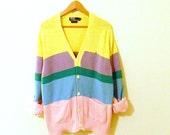 Vintage Ralph Lauren Pastel Striped Sweater / Vintage Rainbow Oversized Sweater / Preppy Pastel Striped Cardigan