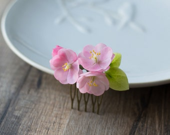 Sakura blossom hair comb - cherry blossom hair accessories - pink hair comb - flower hair comb - floral comb - little comb - pink flowers