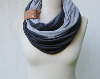 Infinity Scarf with a cuff, light and dark heather grey infinity scaf,  Scarf with a  leather cuff, Double infinity Scarf, jersey scarf