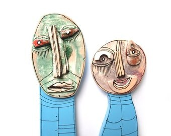 Crazy art sculpture, He and She, Man and Woman figures, Wedding gift sculpture, Mr and Mrs sculpture, Wall sculpture, 3D sculpture, 99heads