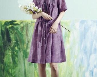 Long Linen Blouse Shirt Tunic Top, Purple Tshirt, Linen Shirt, Linen Dress, Linen Tunic Dress, Purple Dress, Linen blouse, plus size