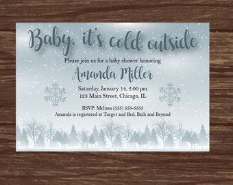 Baby it's Cold Outside Baby Shower Invitation DIGITAL winter wonderland snow shower invite printable party gender neutral snowflake