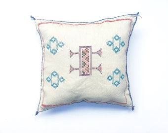Cream Moroccan Cactus Silk Pillow Cover Off White Sabra Silk Cushion Cover Embroidered Pillow