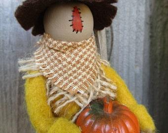 Scarecrow Clothespin Ornament - Halloween Ornament
